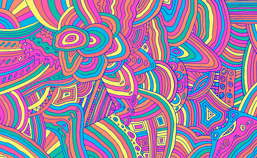 Bright neon trippy doodle stripe pattern. Colorful rainbow abstract detalized ornament. Psychedelic texture. Vector illustration.