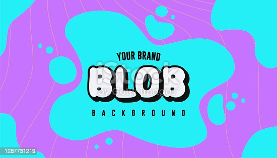 istock Bright Neon Turquoise Liquid Splash or Splatter Blob of Ink on Vibrant Purple Background for Banner or Flyer and Poster Design 1287731219