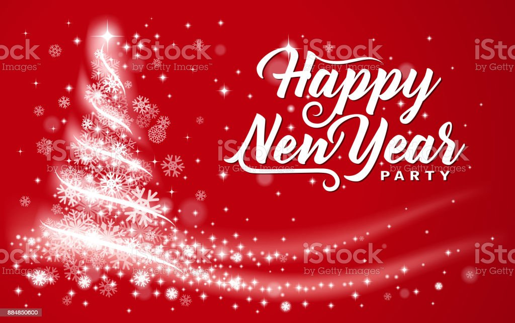 bright new year party message vector art illustration