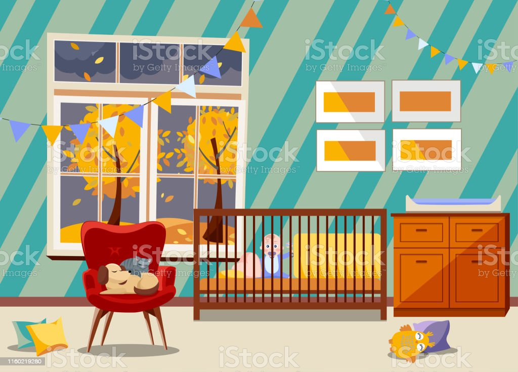 Bright Newborn Kid Nursery Room Interior Bedroom Furniture Flat Childrens Room With Toys Armchair Easy Chair With Sleeping Cat And Dog Garland Of Flags Boy In Bed Window With Fall Landscape Stock