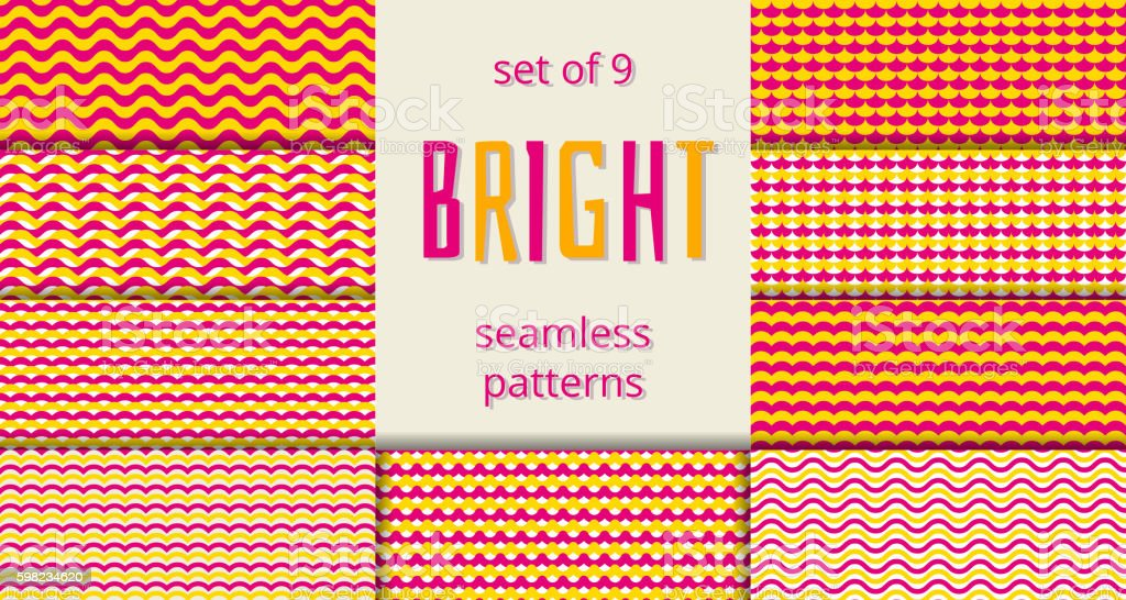 Bright orange and pink waves scales seamless patterns set ilustração de bright orange and pink waves scales seamless patterns set e mais banco de imagens de abstrato royalty-free