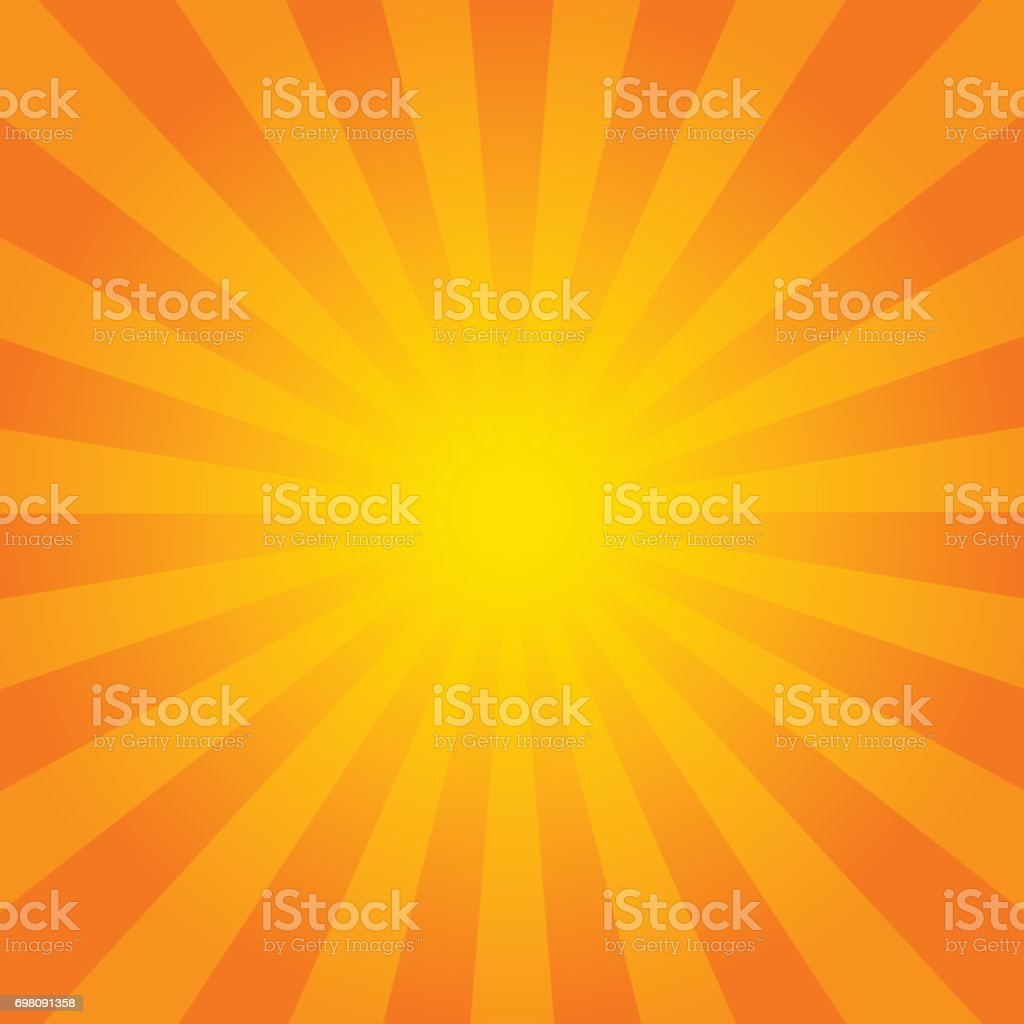 Bright orange rays background. vector art illustration