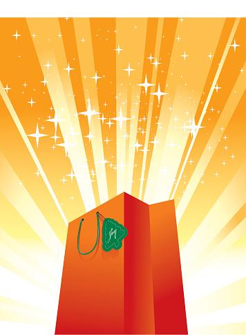 Bright orange shopping bag surrounded by orange lights
