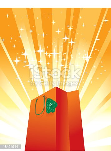 istock Bright orange shopping bag surrounded by orange lights 164549441