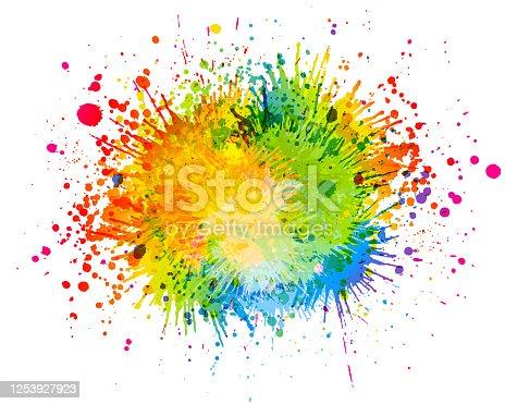 istock Bright paint splash illustration 1253927923