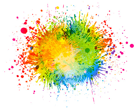 Colorful Rainbow paint splash abstract vector background