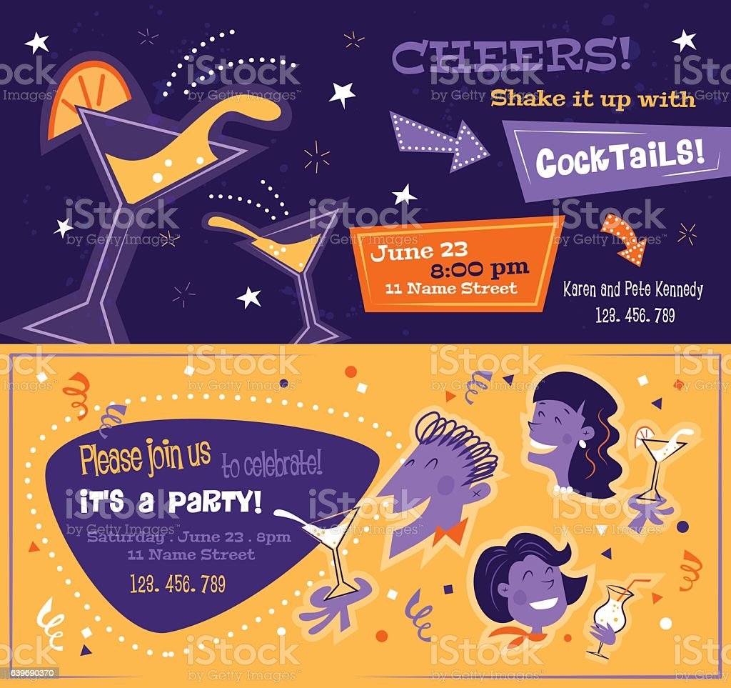 Bright party flyers in mid century style. Horizontal templates with vector art illustration