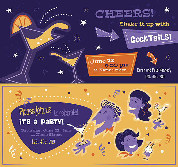 bright party flyers in mid century style. horizontal templates with - happy hour stock illustrations, clip art, cartoons, & icons