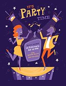 Bright party poster in mid century style. Night disco flyer