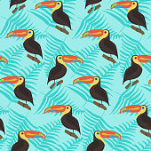 Bright tropical seamless pattern with color cute toucans and fern leaves on blue background. Jungle texture with colorful exotic birds for textile, cloth design, wallpaper, package, wrapping paper