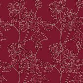 "Vector illustration of seamless, Japanese textile design with light green peonies (paeonia) on a ruby background in a ""silk kimono-style""."