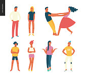 Bright people portraits set - young men and women - set of various posing people in fashion colors - standing with arms akimbo, crossed arms, whirling couple holding their hands, concept characters