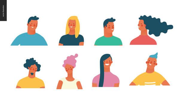 bildbanksillustrationer, clip art samt tecknat material och ikoner med ljusa människor porträtt set - unga män och kvinnor - illustrationer med many faces