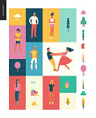 Bright people portraits pattern -young men and women - set of various posing people in fashion colors - standing with arms akimbo, crossed arms, whirling couple holding their hands, concept characters
