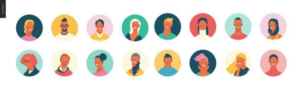 ilustrações, clipart, desenhos animados e ícones de retratos brilhantes dos povos ajustados-homens novos e mulheres - avatar