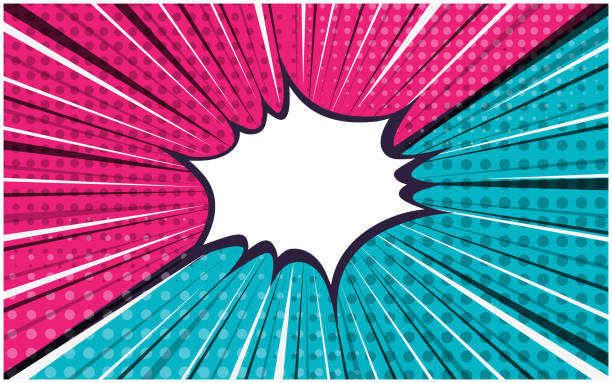 Bright pink and blue versus retro comic background Bright pink and blue exploding striped versus retro comic background with dotted halftone corners. Cartoon pop art vs bubble with dark and light stripes for comics book, advertising design, poster bangs stock illustrations