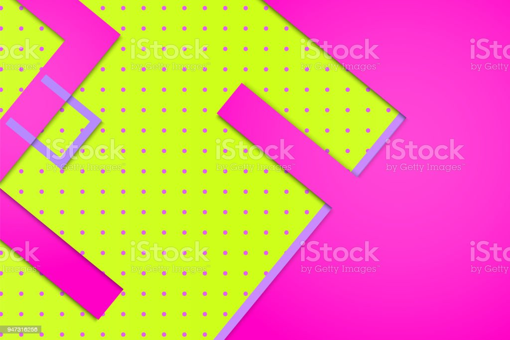 Bright Pink Background With Lime Green Element Stock Vector Art