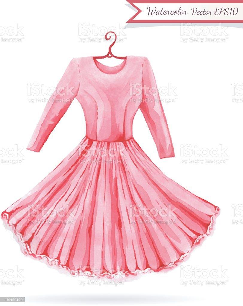 Ilustración de Vestido Rosa Brillante Colgador De Acuarela Boceto y ...