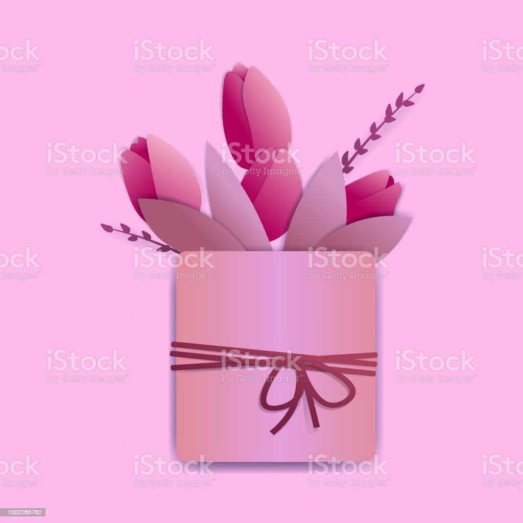 Bright pink tulips in a square pot with a rope and a tiny bow. There are springs and leaves also. векторная иллюстрация