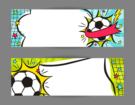 Bright pop art banners for Soccer with ball, net and stars.