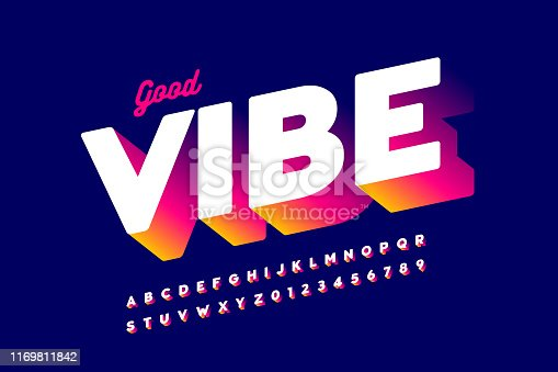 Bright positive style font design, alphabet letters and numbers, vector illustration