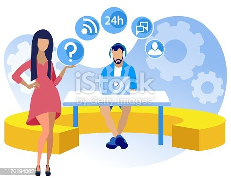 Bright Poster Call Center Setup Cartoon Flat. Willingness to Work on Shift Schedule. Guy is Sitting at Table with Laptop in Headphones, Girl is Standing Next to him. Vector Illustration.