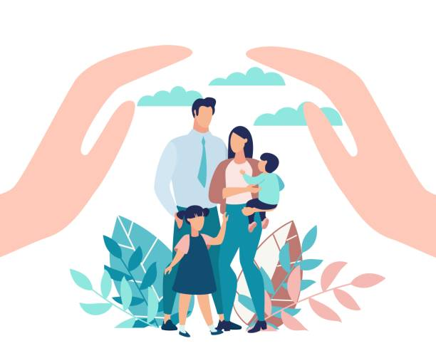 Bright Poster Family Protection with Children. Bright Poster Family Protection with Children. State Protection for Families with Small Children. Parents and Children Stand in Park, Close-up above his Hands. Vector Illustration. happy family stock illustrations