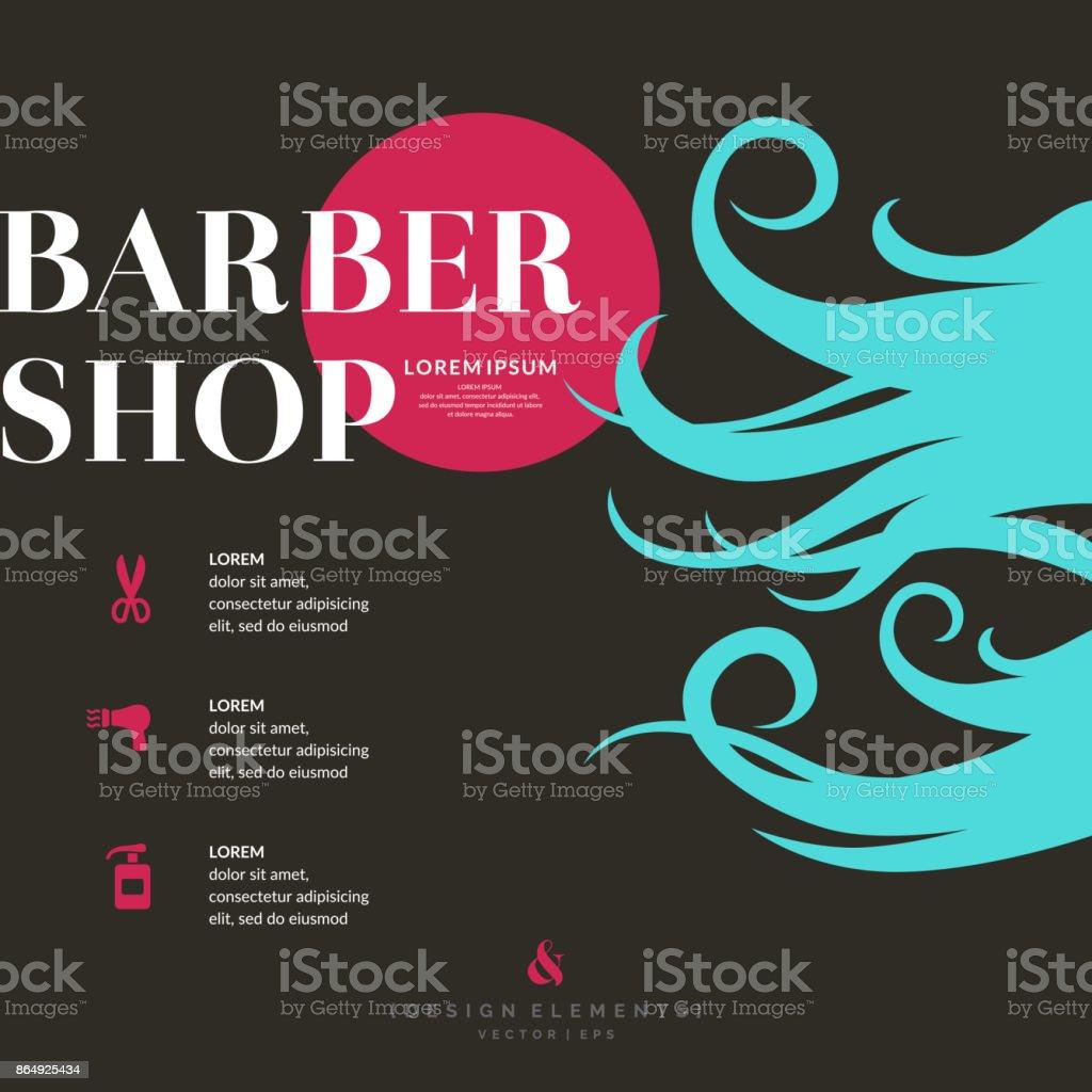 Hellen Plakat für den Friseur – Vektorgrafik