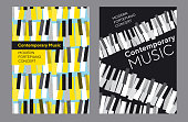 Bright poster set for music concert, Classic piano keyboard in geometric mosaic style. Elegant urban modern design element for music and dance projects, cover, poster, invitation.