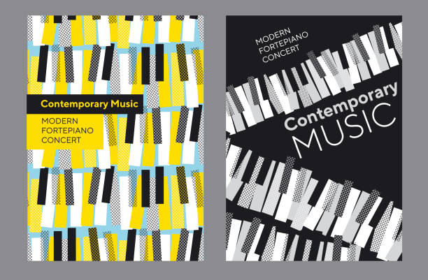 bright poster set for piano music concert, - pianino instrument klawiszowy stock illustrations