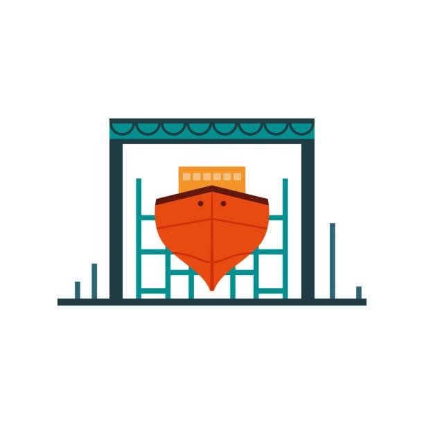 Helle Plakat-Werft, Platz Bauschiffe. – Vektorgrafik