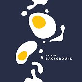 Bright poster with a picture of an egg, yolk and splashes on a dark background. Vector illustration in flat minimalistic style