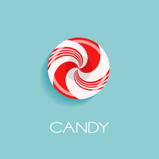 Bright poster with candy drop Bright poster with candy drop and sample text. Red and white glossy realistic lollipop with shadow isolated on spearmint color background. Vector design for icon, symbol or branding gum drop stock illustrations