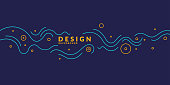 Bright poster with dynamic waves. Vector illustration minimal flat style
