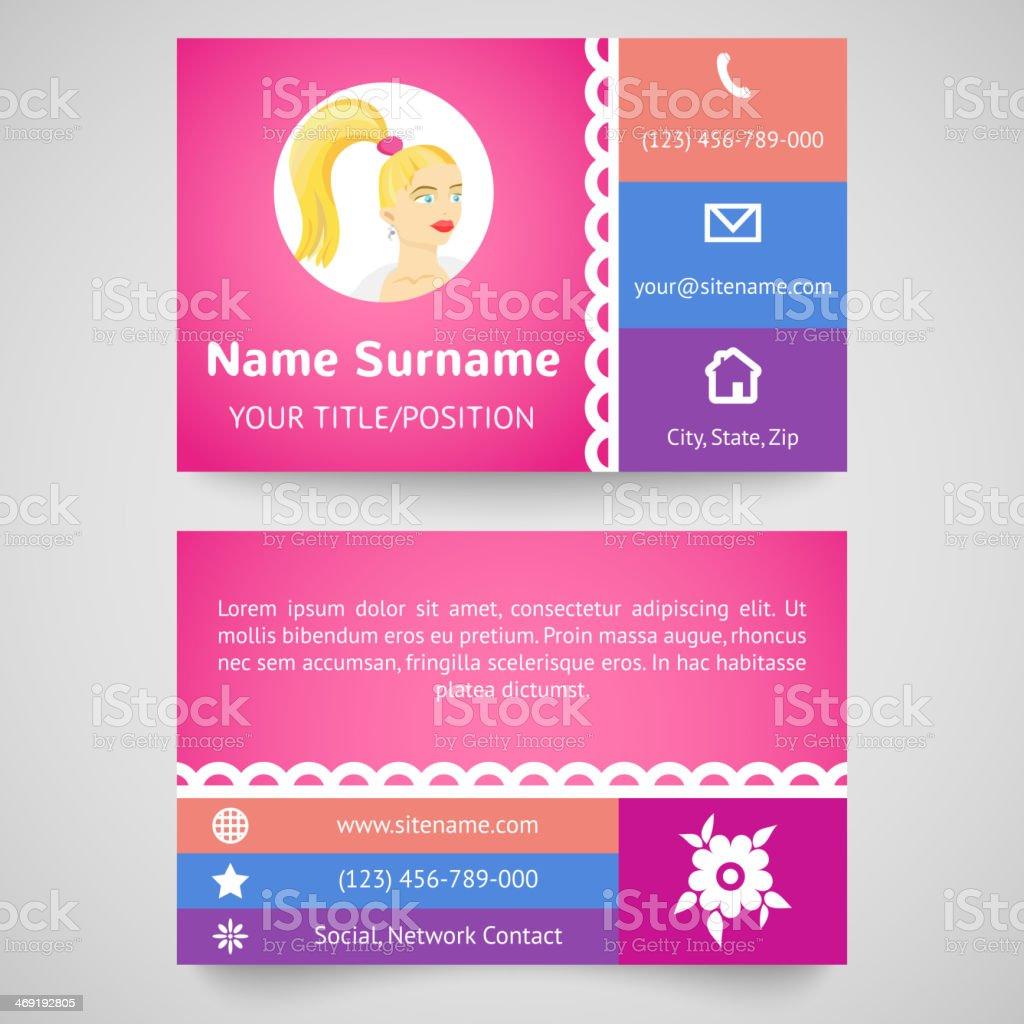 Bright pretty business card (set template) vector art illustration