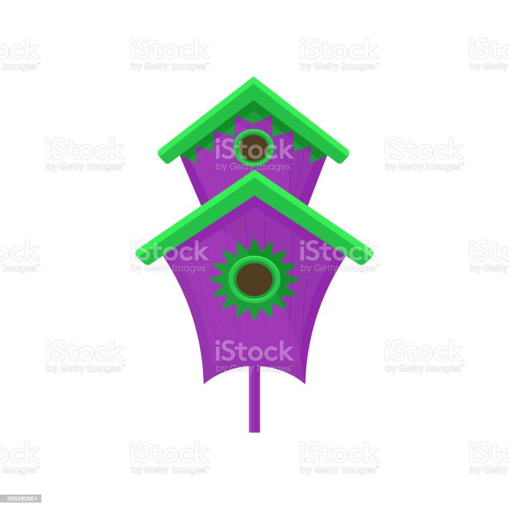 Hell lila Nistkasten mit Gründach. Großes Haus Vogel mit zwei Löchern. Heimat für viele Vögel. Flache Vektorelement für Poster oder banner - Lizenzfrei Bunt - Farbton Vektorgrafik