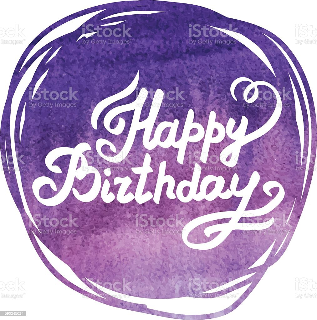 Bright purple watercolor painted vector with the inscription  happy Birthday royalty-free bright purple watercolor painted vector with the inscription happy birthday stock vector art & more images of abstract