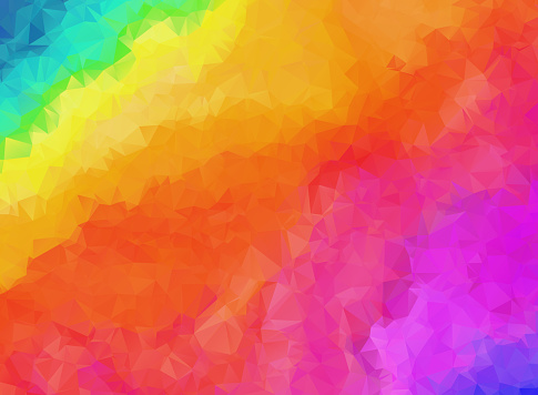 Bright rainbow colors abstract polygonal background. Contrast colorful geometric vibrant low poly triangle texture for software, ui design, web, apps wallpaper, banner