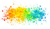 Rainbow paint splatter on white background