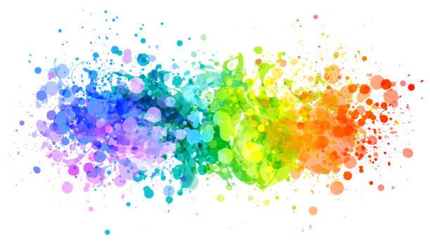 ilustrações, clipart, desenhos animados e ícones de vetor de respingo de tinta brilhante arco-íris - tinta equipamento de arte e artesanato