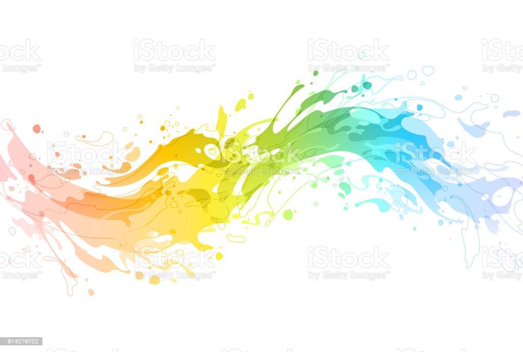 Bright Rainbow Paint Splash Vector Stock Illustration - Download