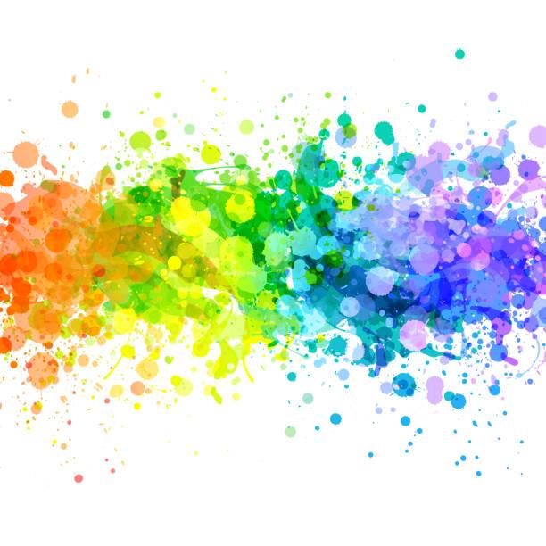 ilustrações, clipart, desenhos animados e ícones de vetores de respingo de arco-íris brilhante - lgbt