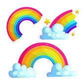 Bright rainbows cartoon vector stickers set. Colorful arcs with clouds and stars icon collection. Magic weather phenomenon drawings for children. Shiny curve isolated on white. Scrapbook patches