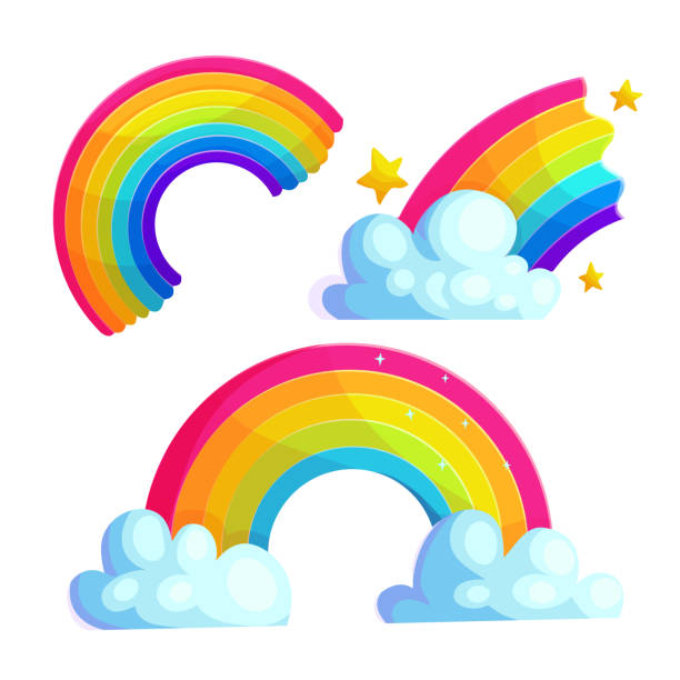 Bright rainbows cartoon vector stickers set Bright rainbows cartoon vector stickers set. Colorful arcs with clouds and stars icon collection. Magic weather phenomenon drawings for children. Shiny curve isolated on white. Scrapbook patches rainbow stock illustrations