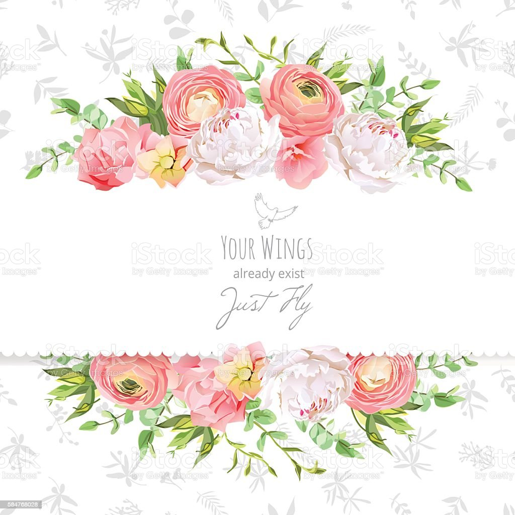 Bright ranunculus, peony, rose, carnation horizontal vector design frame vector art illustration