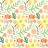 Bright red and orange floral summer seamless pattern. Tender light hand drawn texture with cute flowers, leaves, waterdrops for textile, wrapping paper, print design, wallpaper, surface