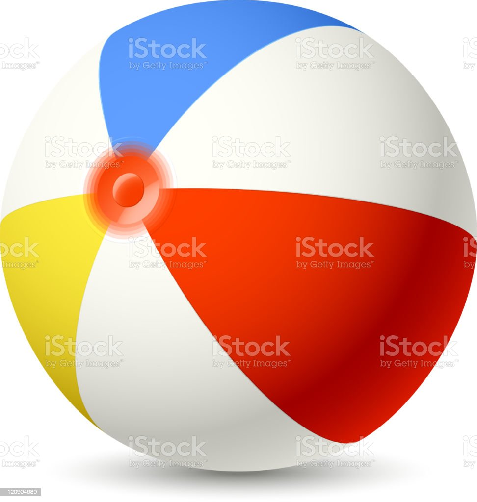 Bright red, blue, and yellow-striped beachball close-up vector art illustration