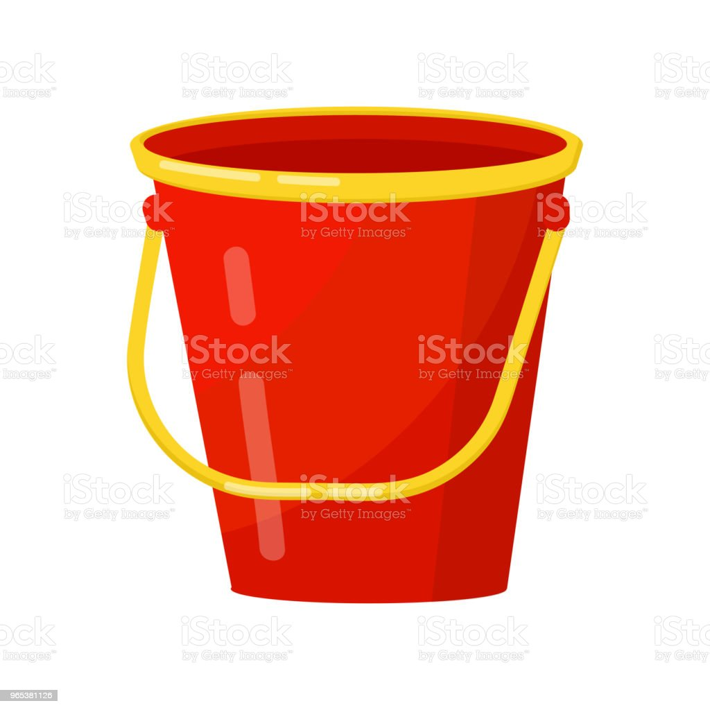 Bright red bucket with yellow handle. Metal or plastic cylindrical container. Flat vector element for poster of household store royalty-free bright red bucket with yellow handle metal or plastic cylindrical container flat vector element for poster of household store stock vector art & more images of cartoon