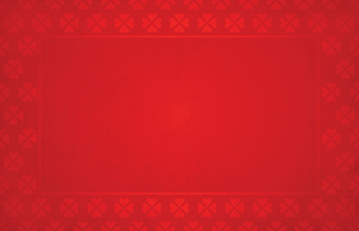 Bright red coloured grunge Backgrounds with a border of floral pattern made of small hearts all around the horizontal frame