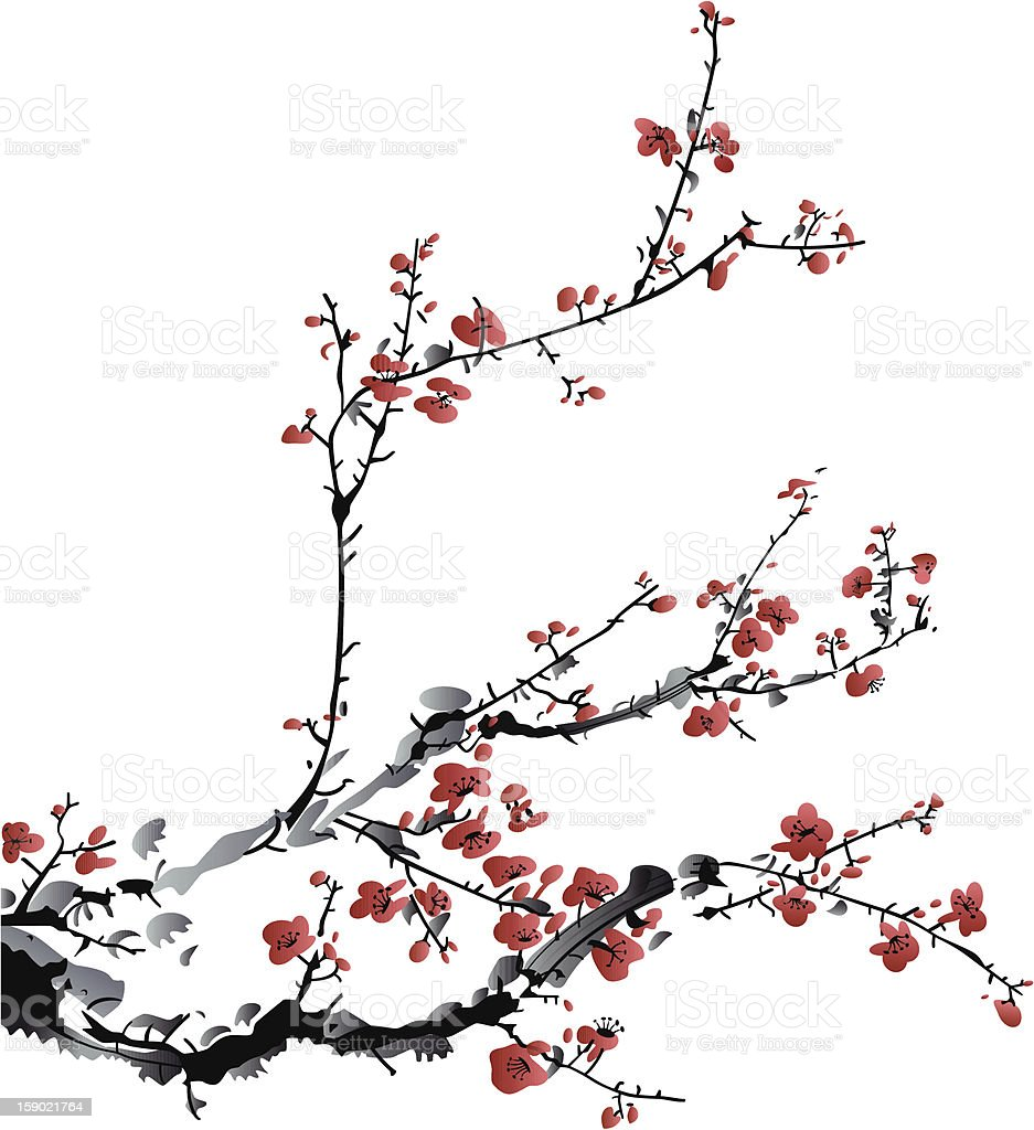 Bright red flowers hanging on the branches of a winter tree vector art illustration